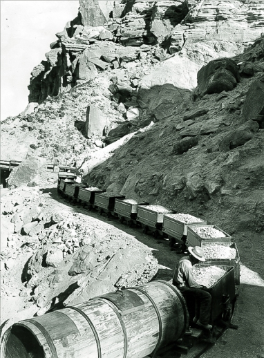 Ore train arriving at Ryan from the mines - 1916. Courtesy National Park Service, Death Valley National Park